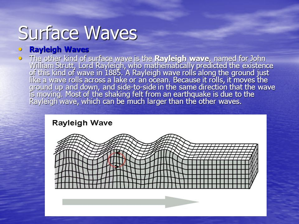 Surface Waves Rayleigh Waves