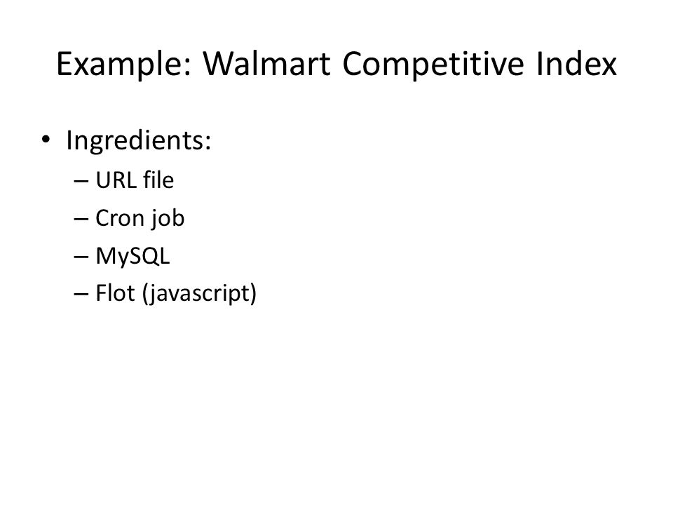 Example: Walmart Competitive Index