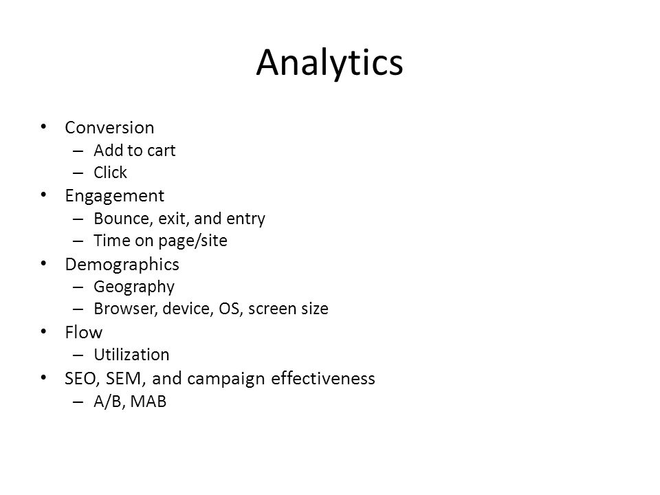 Analytics Conversion Engagement Demographics Flow
