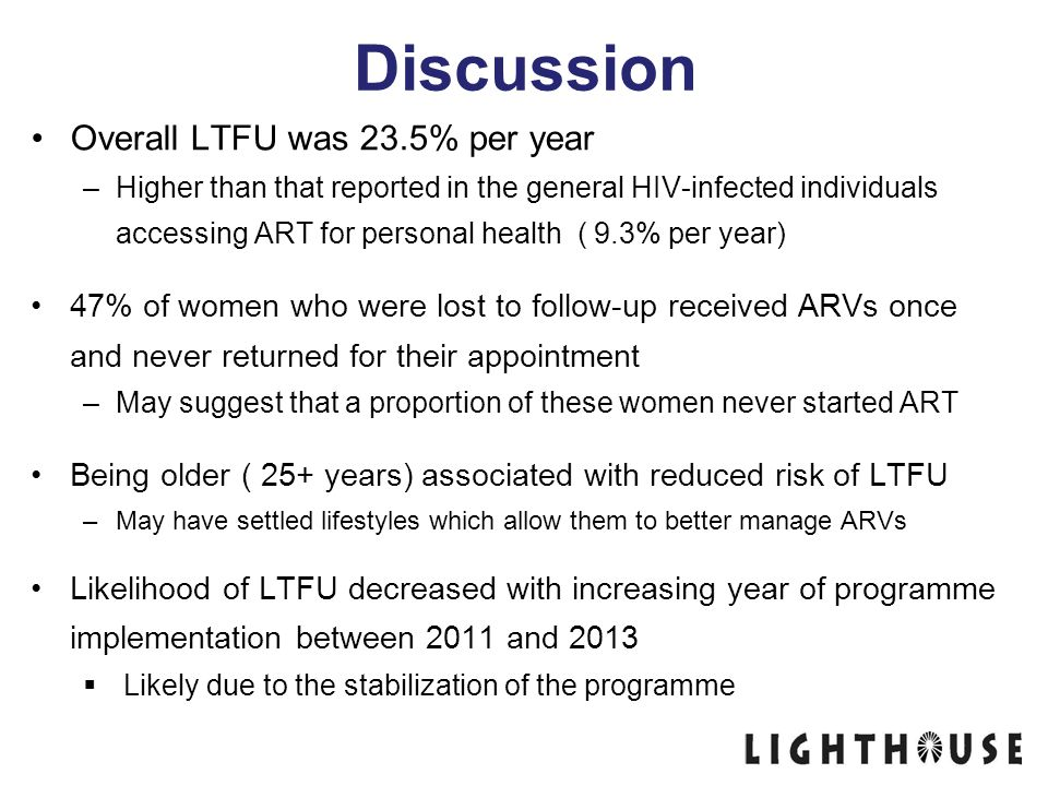 Discussion Overall LTFU was 23.5% per year