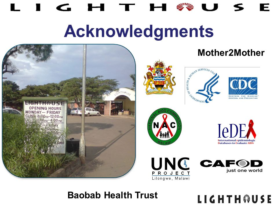 Acknowledgments Mother2Mother Baobab Health Trust 18