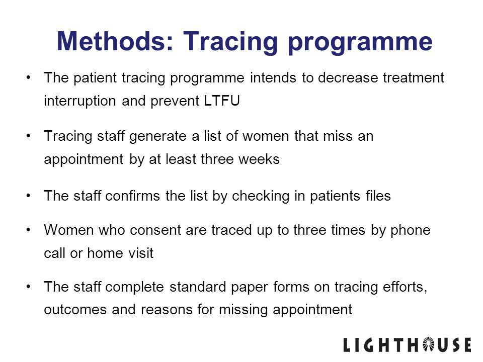 Methods: Tracing programme