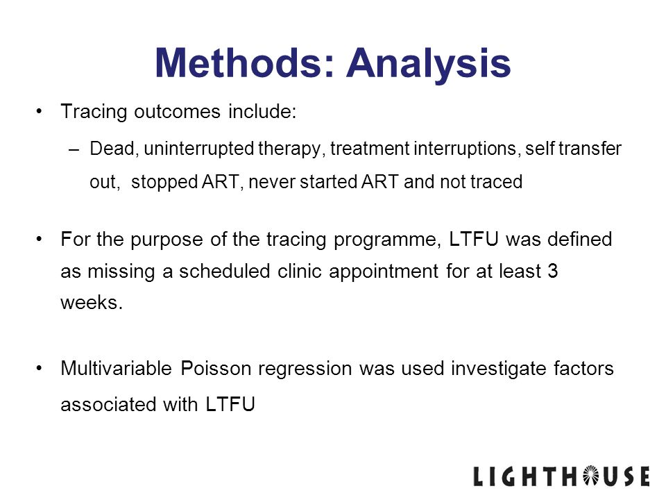 Methods: Analysis Tracing outcomes include: