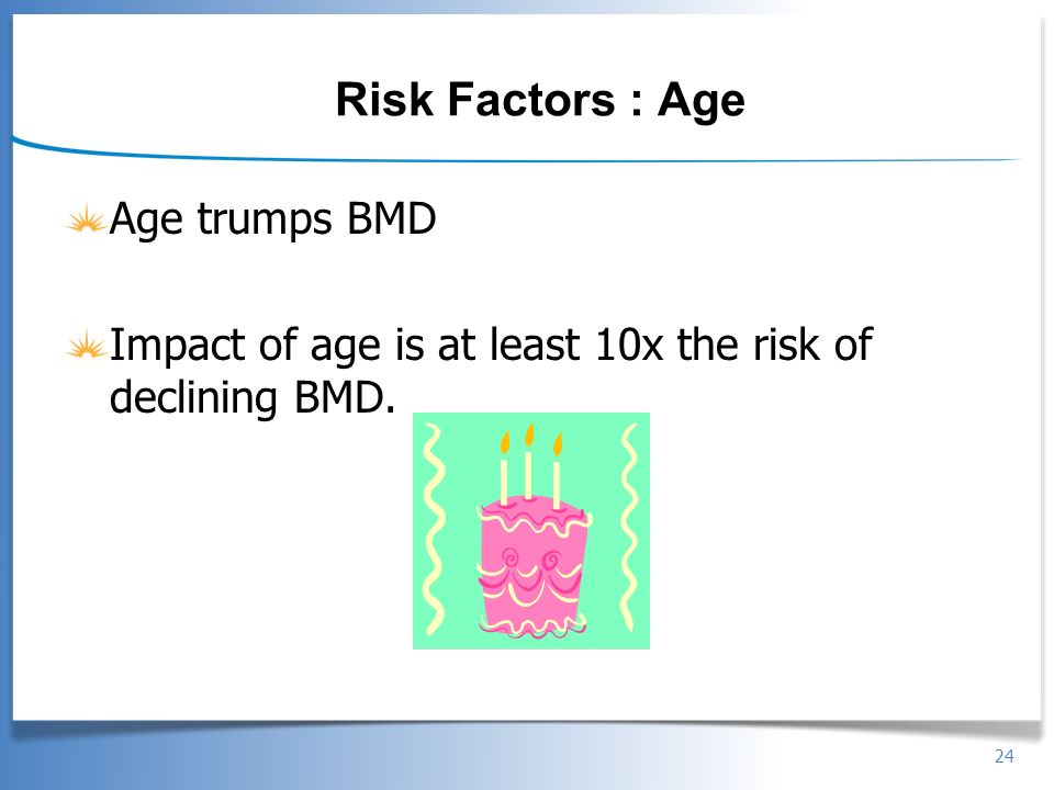 Risk Factors : Age Age trumps BMD
