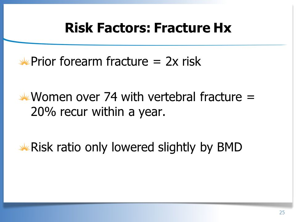 Risk Factors: Fracture Hx