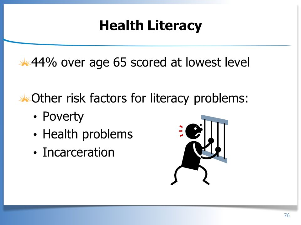 Health Literacy 44% over age 65 scored at lowest level