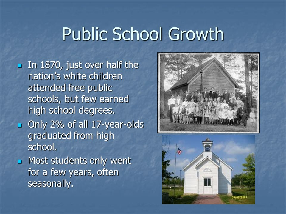 Public School Growth In 1870, just over half the nation's white children attended free public schools, but few earned high school degrees.