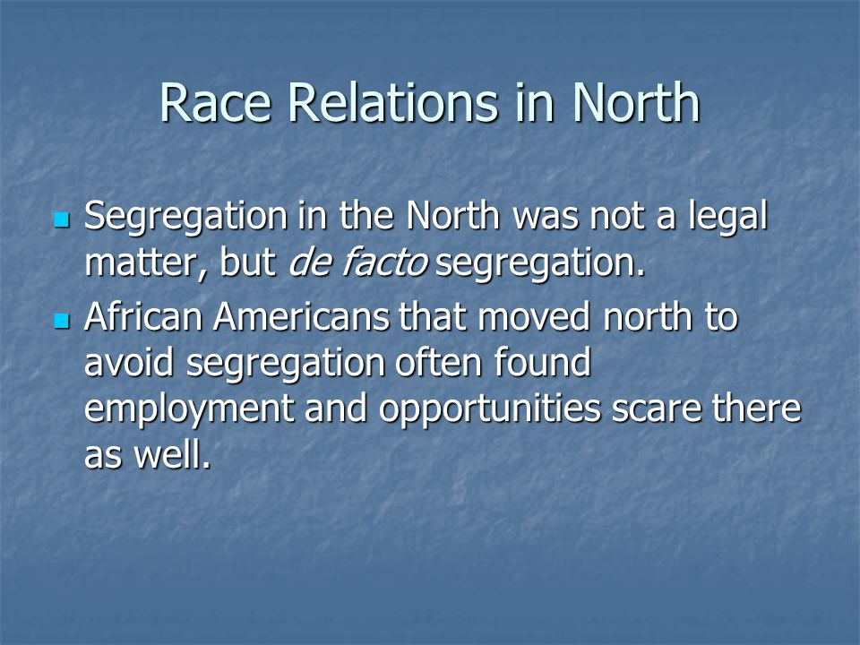 Race Relations in North