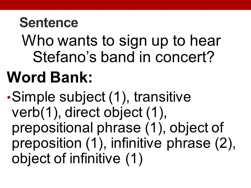 Who wants to sign up to hear Stefano's band in concert