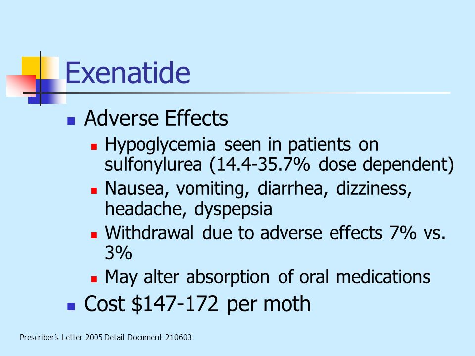 Exenatide Adverse Effects Cost $147-172 per moth