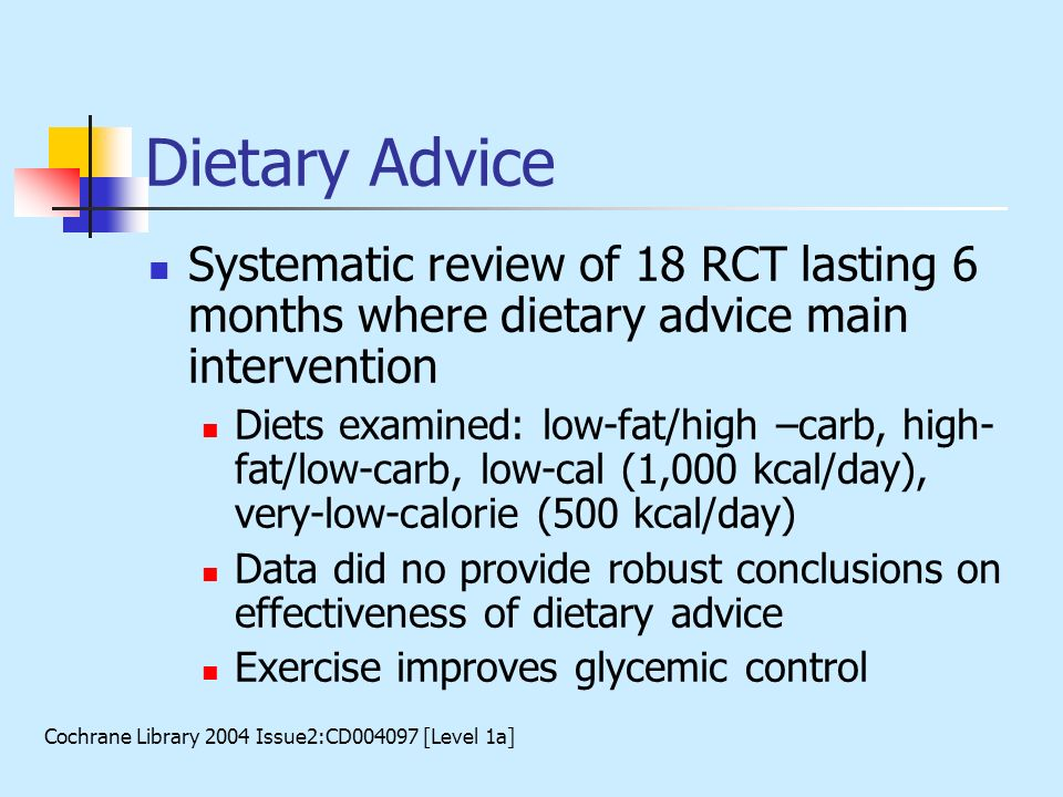 Dietary Advice Systematic review of 18 RCT lasting 6 months where dietary advice main intervention.
