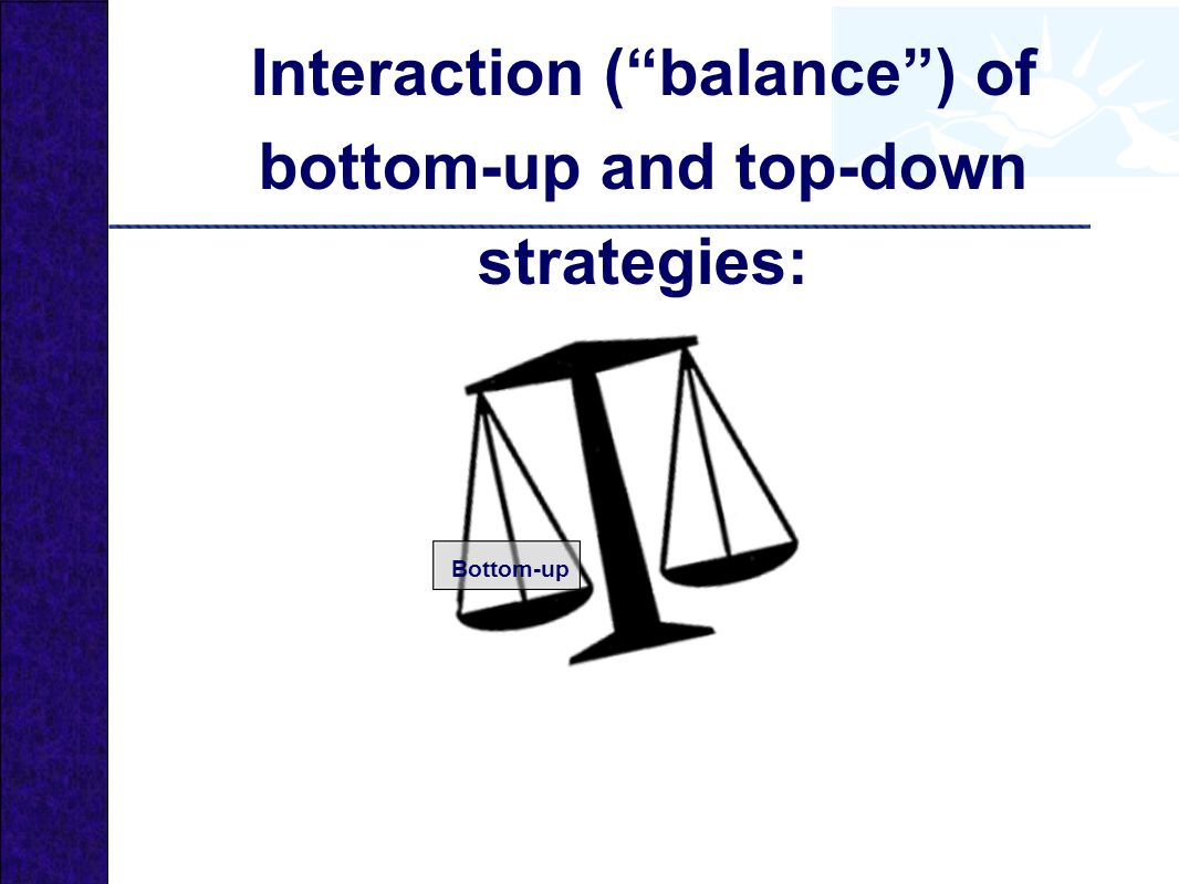 Interaction ( balance ) of bottom-up and top-down strategies: