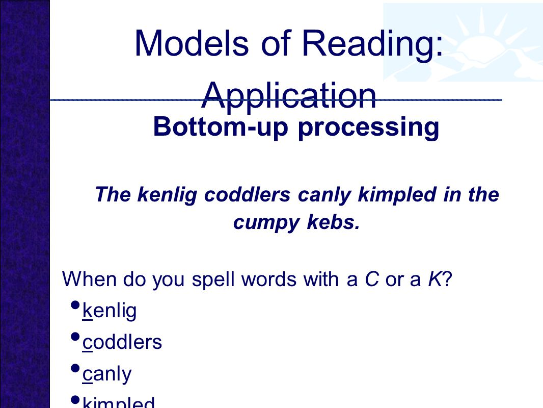 Models of Reading: Application