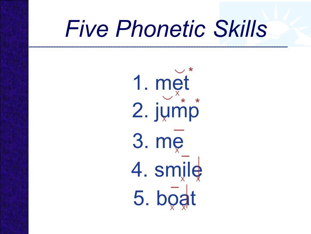 Five Phonetic Skills 1. met 2. jump 3. me 4. smile 5. boat * * * X X X