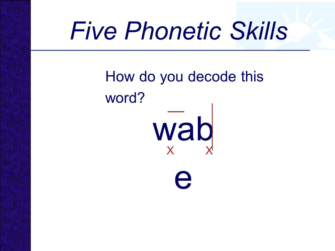 wabe Five Phonetic Skills How do you decode this word X X