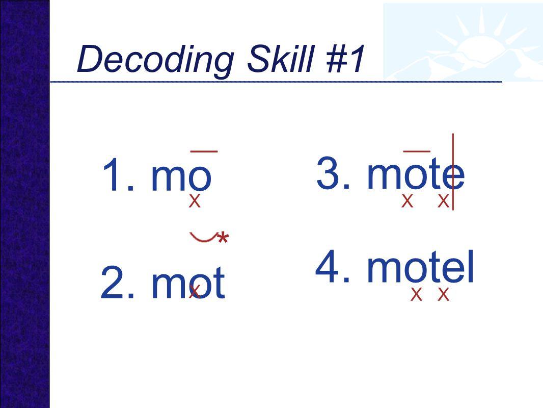 1. mo 3. mote 2. mot 4. motel Decoding Skill #1 * X X X X X X
