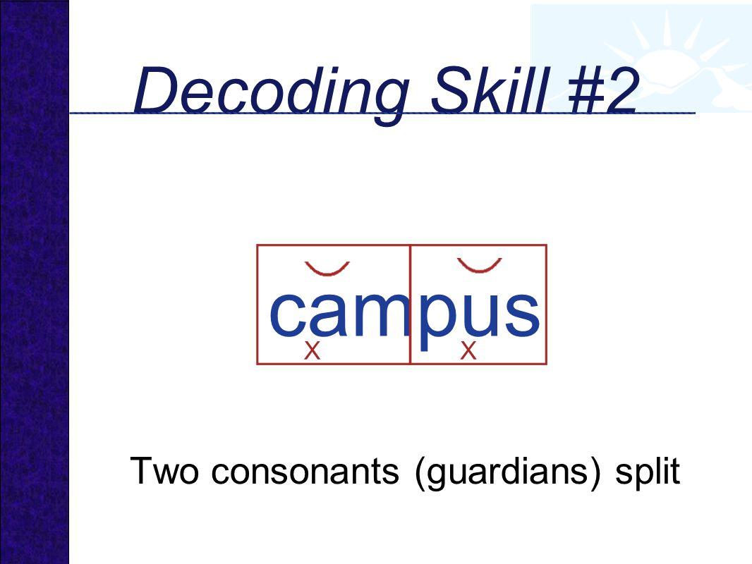 campus Decoding Skill #2 Two consonants (guardians) split X X