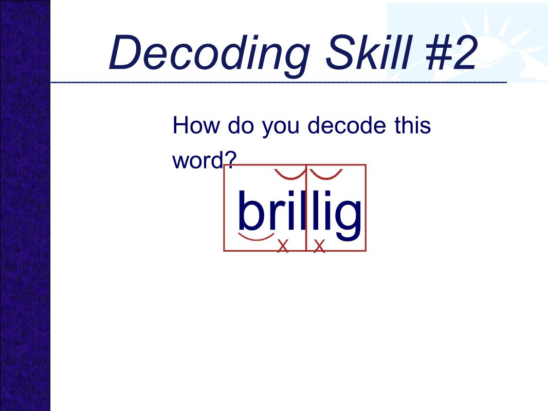 Decoding Skill #2 How do you decode this word brillig X X