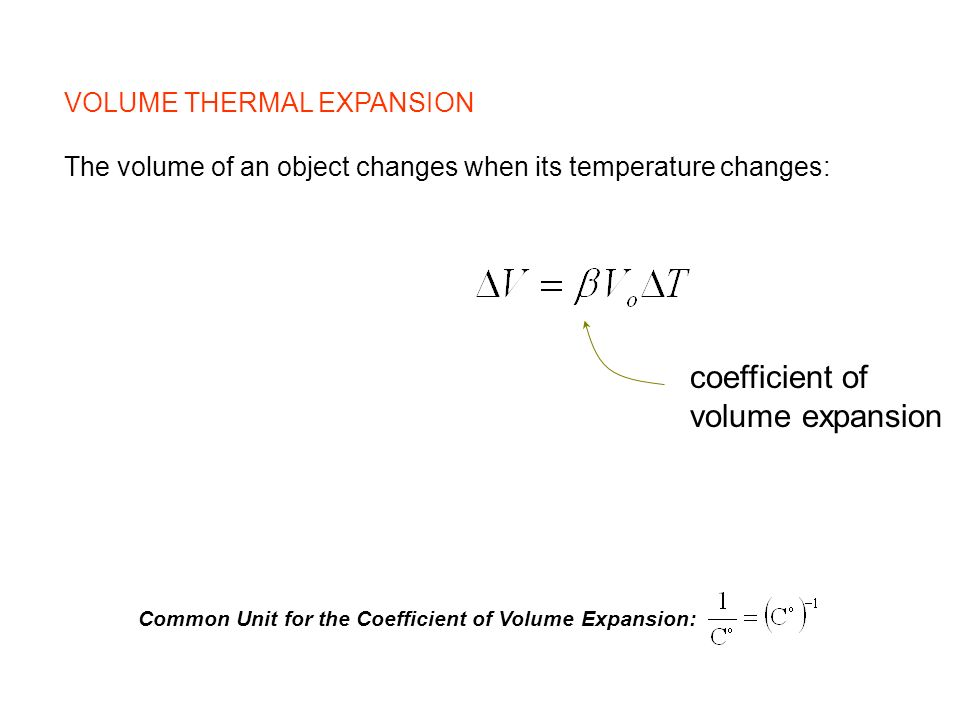 coefficient of volume expansion VOLUME THERMAL EXPANSION