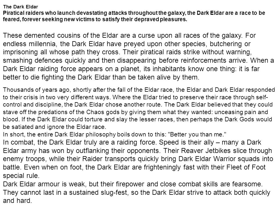 The Dark Eldar