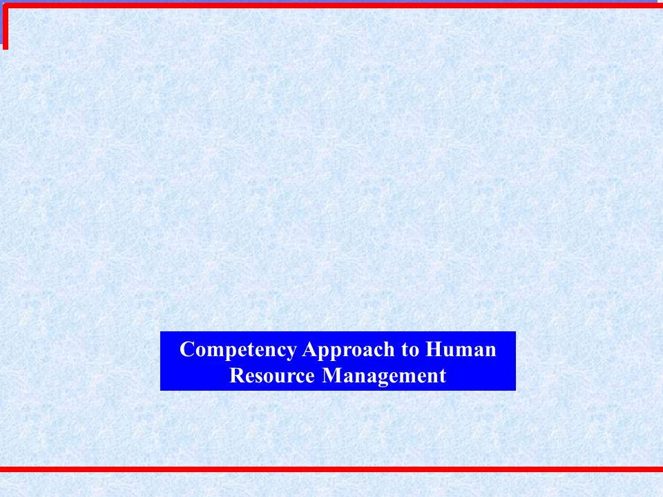 Competency Approach to Human Resource Management