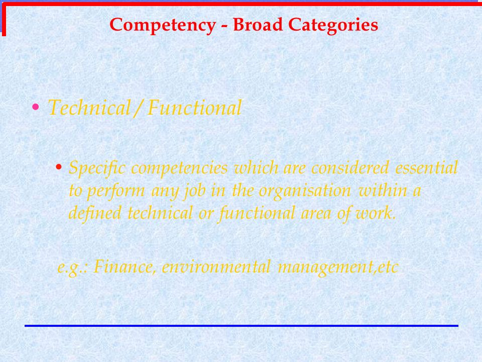 Competency - Broad Categories
