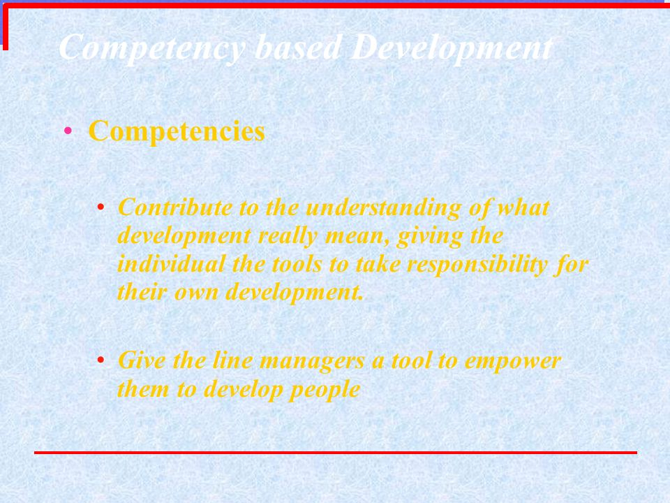 Competency based Development