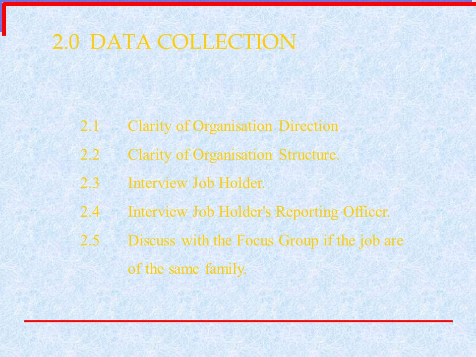 2.0 DATA COLLECTION 2.1 Clarity of Organisation Direction