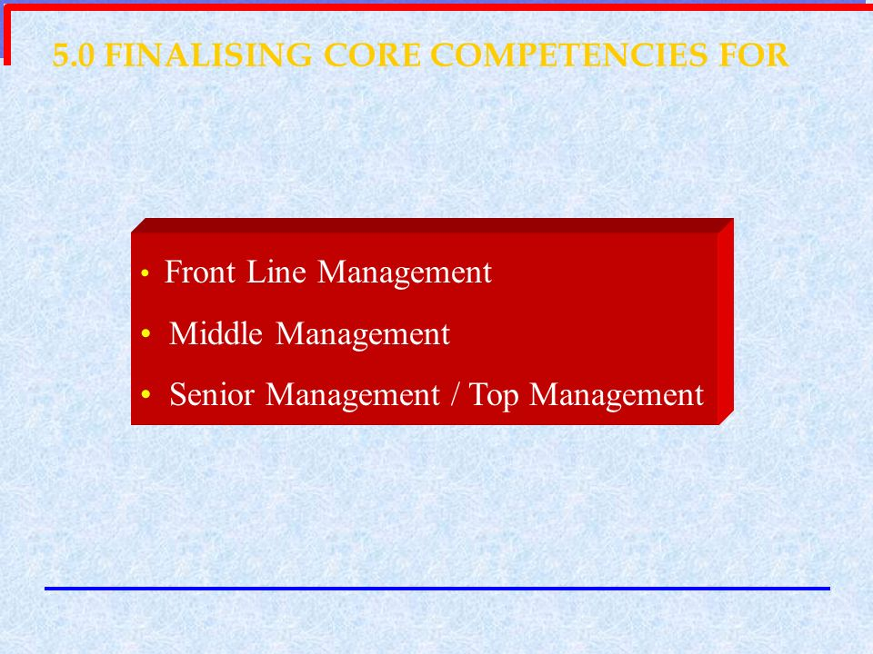 5.0 FINALISING CORE COMPETENCIES FOR