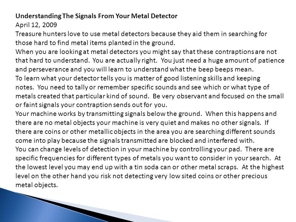 Understanding The Signals From Your Metal Detector