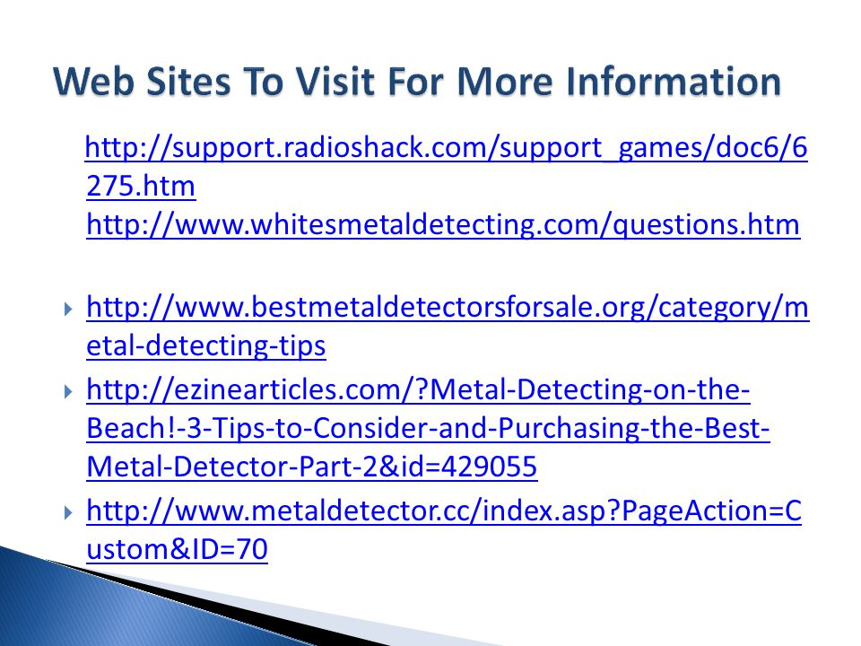 Web Sites To Visit For More Information