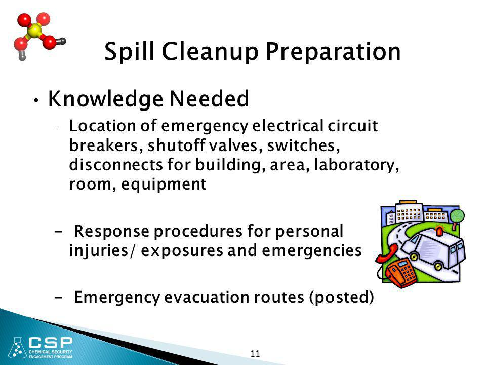 Spill Cleanup Preparation