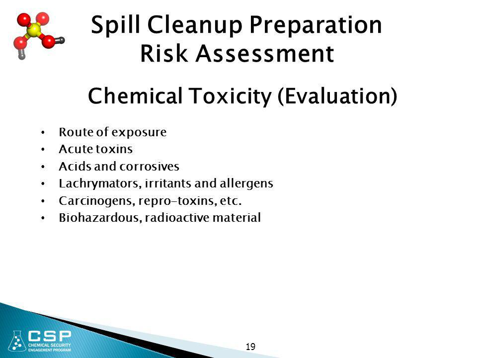 Spill Cleanup Preparation Chemical Toxicity (Evaluation)