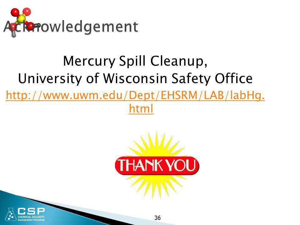 Acknowledgement Mercury Spill Cleanup,