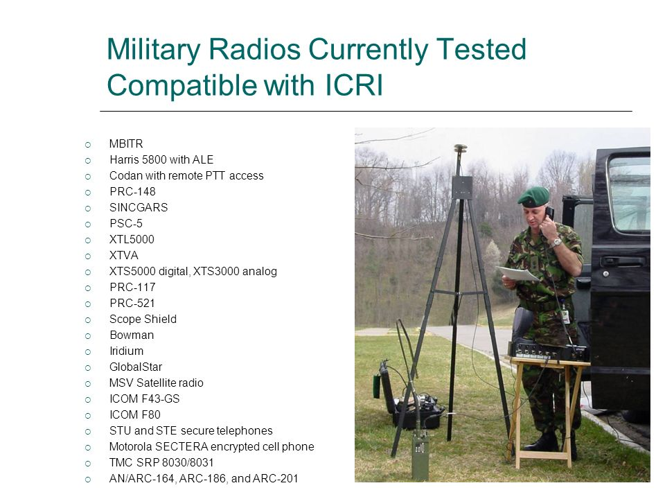 Military Radios Currently Tested Compatible with ICRI