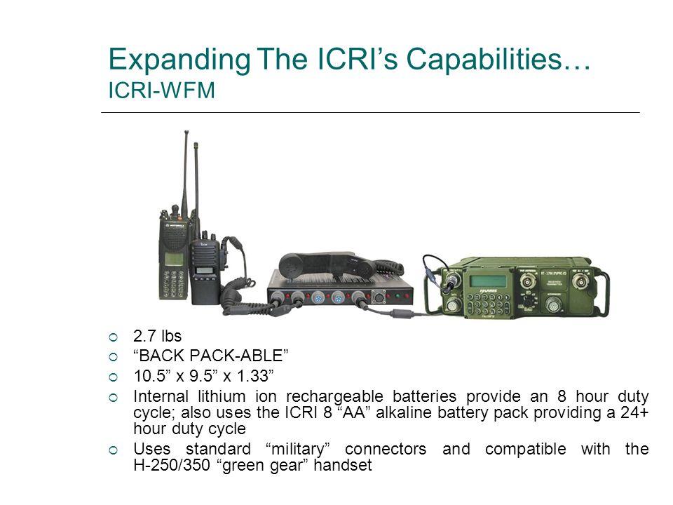Expanding The ICRI's Capabilities… ICRI-WFM