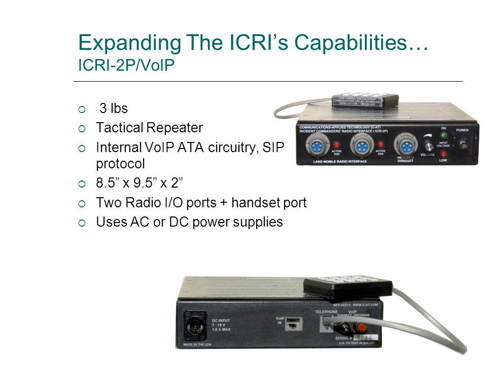 Expanding The ICRI's Capabilities… ICRI-2P/VoIP