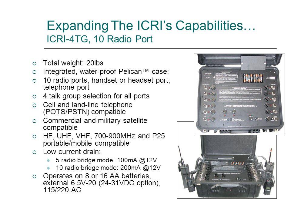 Expanding The ICRI's Capabilities… ICRI-4TG, 10 Radio Port