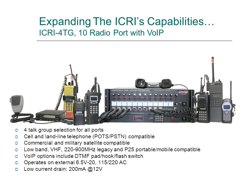 Expanding The ICRI's Capabilities… ICRI-4TG, 10 Radio Port with VoIP