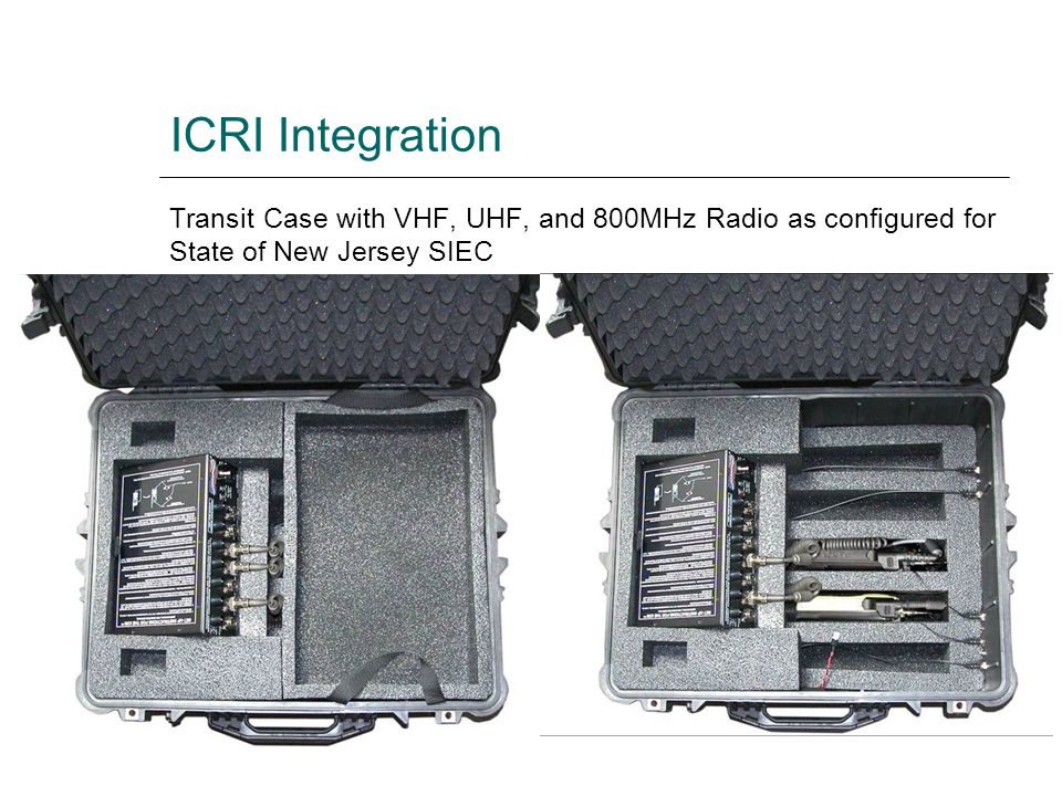 ICRI Integration Transit Case with VHF, UHF, and 800MHz Radio as configured for State of New Jersey SIEC.