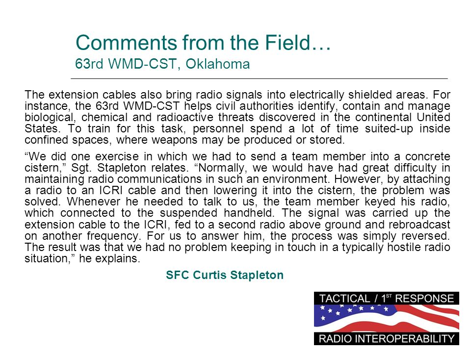 Comments from the Field… 63rd WMD-CST, Oklahoma