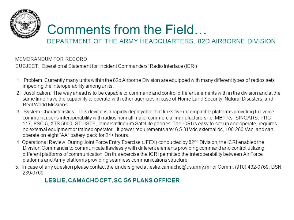 Comments from the Field… DEPARTMENT OF THE ARMY HEADQUARTERS, 82D AIRBORNE DIVISION