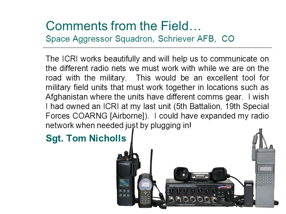 Comments from the Field… Space Aggressor Squadron, Schriever AFB, CO