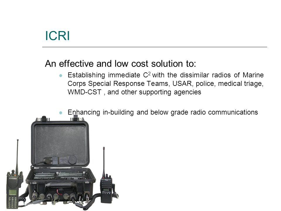 ICRI An effective and low cost solution to: