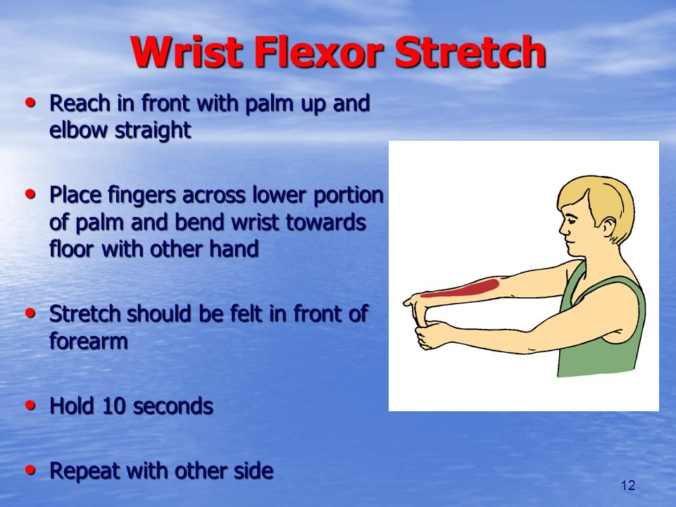 Wrist Flexor Stretch Reach in front with palm up and elbow straight