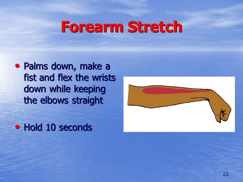 Forearm Stretch Palms down, make a fist and flex the wrists down while keeping the elbows straight.