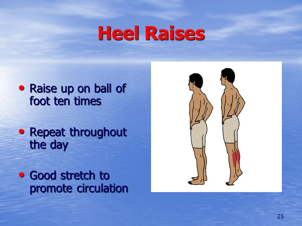 Heel Raises Raise up on ball of foot ten times
