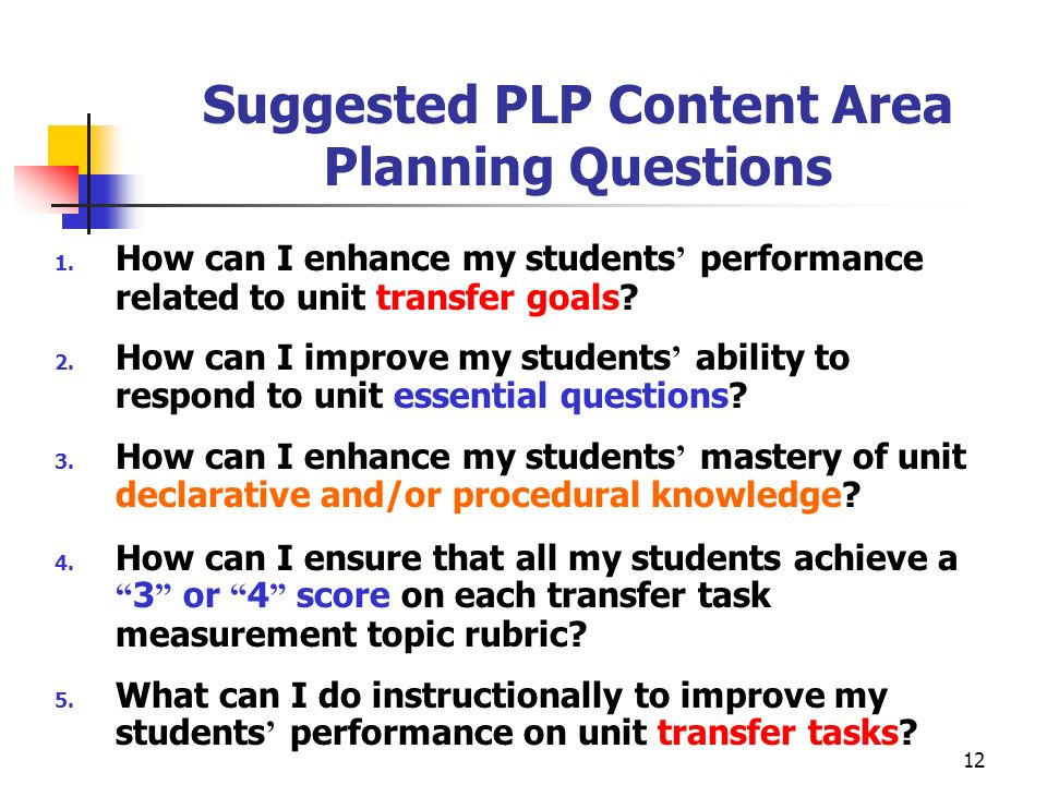 Suggested PLP Content Area Planning Questions