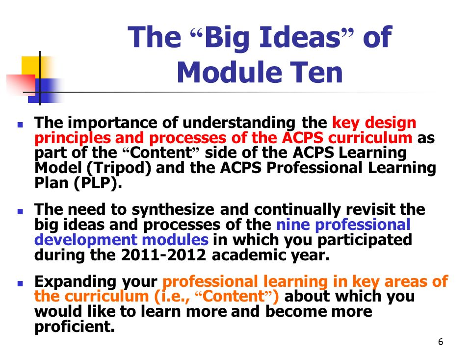 The Big Ideas of Module Ten