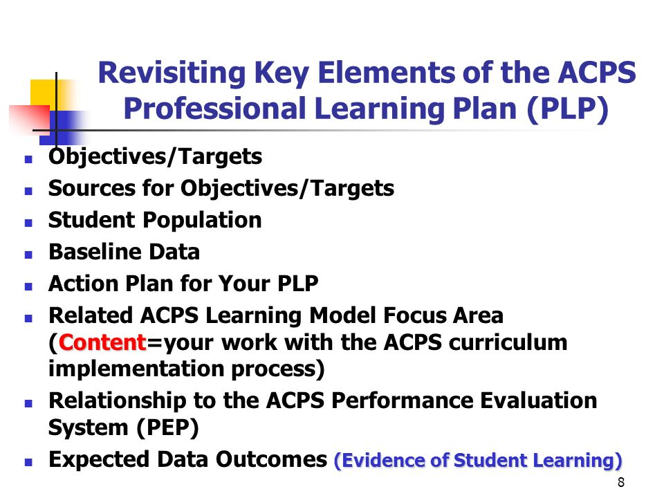 Revisiting Key Elements of the ACPS Professional Learning Plan (PLP)